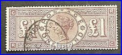 Qv Fine Used £1 Lilac Wmk Crowns With Certificate