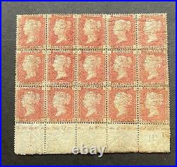 Qv Mint Block Of 15 1d Reds Plate 137