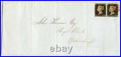 RARE 1840 cover Glasgow to Edinburgh pair 1d grey-black pl 1a lettered DK/DL