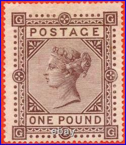 SG. 129. J126. GG. £1.00 Brown lilac. Plate 1. A fine mounted mint example