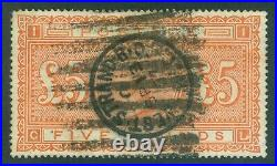 SG 137 £5 orange. A good used example. Well centred, good colour, clean rever