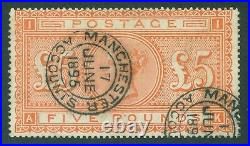 SG 137 £5 orange. Very fine used with Manchester 17 June 1896 CDS's. Good