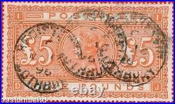 SG. 137. DJ. £5.00 Orange. A good fine used example