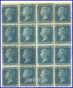 SG 45 2d Blue plate 9 1858-76, A full sheet reconstructed of 240. Plate 9 in fin