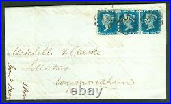 SG 5 1840 2d blue lettered PE-PG strip of 3 on entire from Bungay to