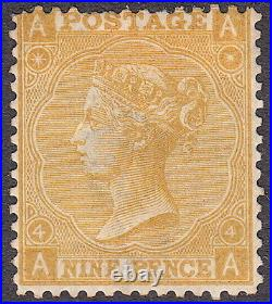 SG110 9d Straw Plate 4, Mounted Mint. Cat £2400. AA SCARCE