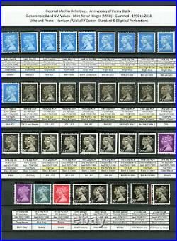 Specialised Machin Collection of machins issued 1971 to 2020 1150+ MNH stamps
