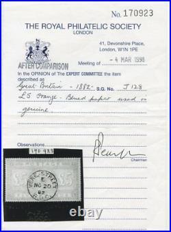 VERY RARE 1882 £5 orange on blued paper wmk anchor. S. G. 133