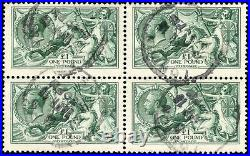 Very rare 1913 Waterlow £1 deep dull blue-green used block of 4. SG 404