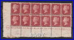 Vic 1864. 1d rose-red. Plate 124 imprint block x 12 values. MNH/mint
