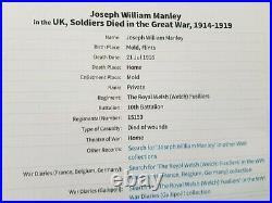 WW1 DEATH PLAQUE, JOSEPH WILLIAM MANLEY, 10th Bn ROYAL WELSH FUSILIERS, FROM MOLD