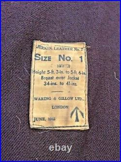 WW2 Dated British Commonwealth Jerkin HORSEHIDE Vest with WAR DEPARTMENT STAMP