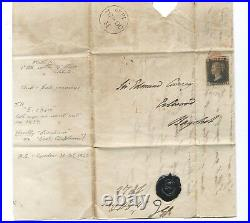 Wbc. GB QUEEN VICTORIA PB02 1d BLACK ON COVER to Bagshot 31 Oct. 1840