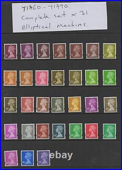 Y1760-Y1790. Complete set x 31 Elliptical Machins. Superb unmounted mint